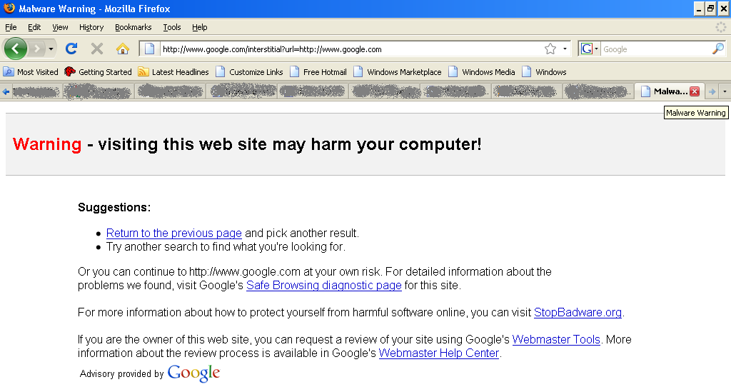 Google tags Google as malware